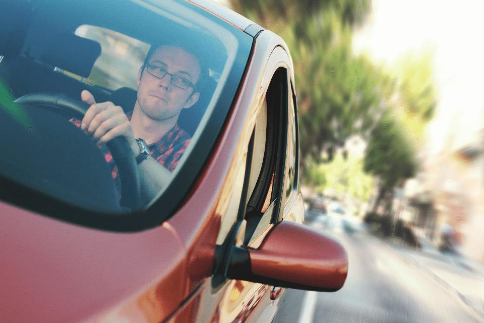 Man driving in a car
